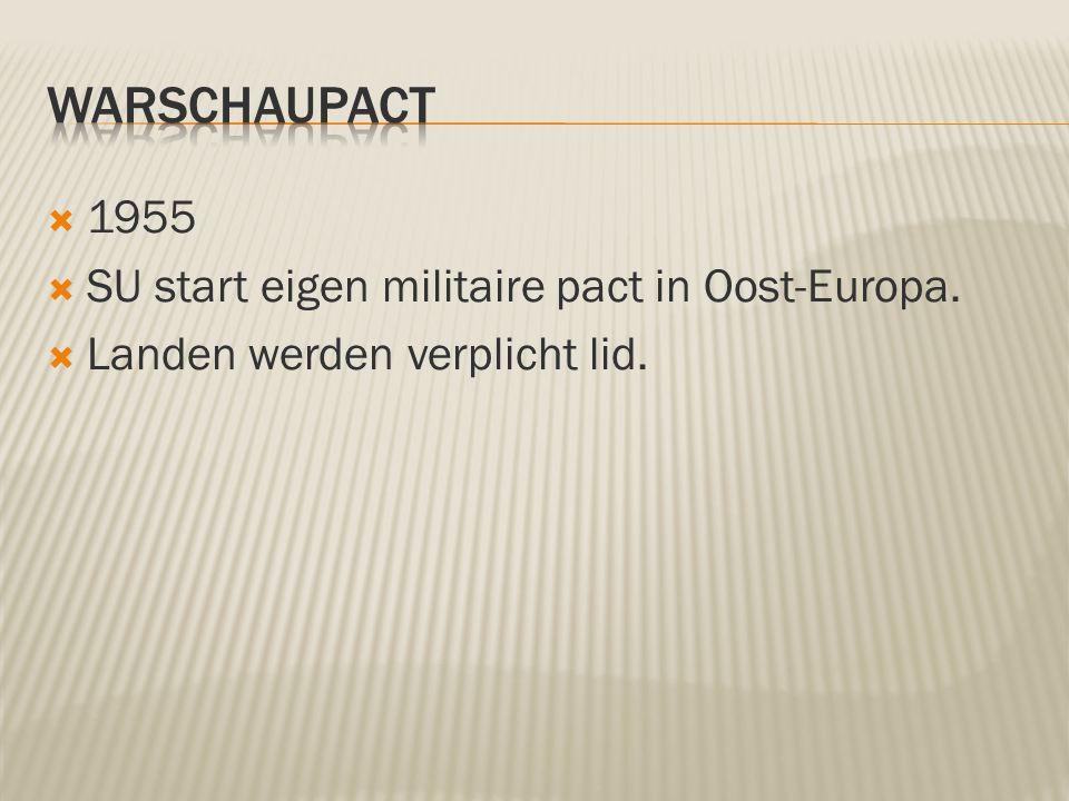 Warschaupact 1955 SU start eigen militaire pact in Oost-Europa.