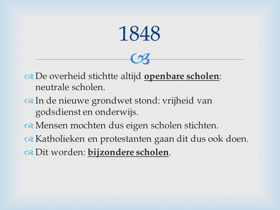 1848 De overheid stichtte altijd openbare scholen: neutrale scholen.