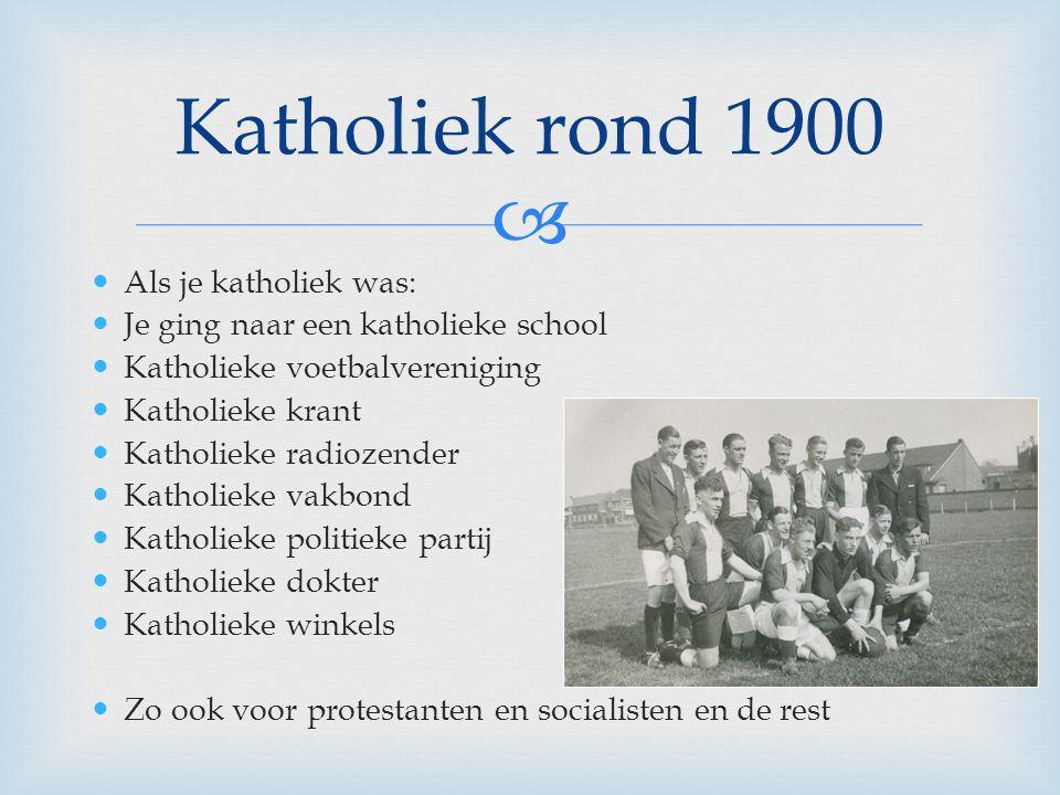 Katholiek rond 1900 Als je katholiek was:
