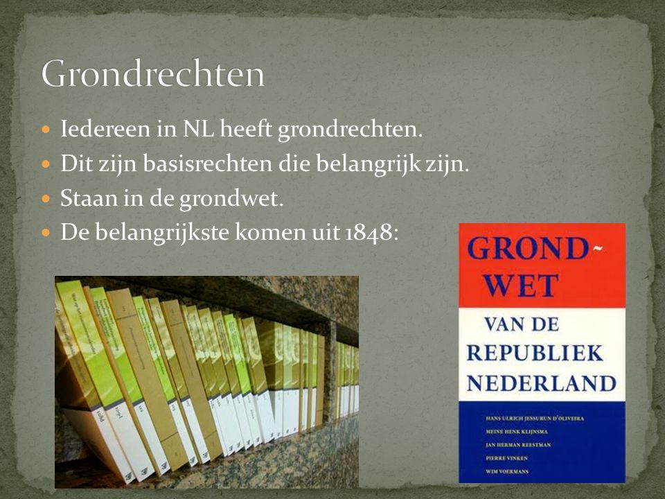 Grondrechten Iedereen in NL heeft grondrechten.