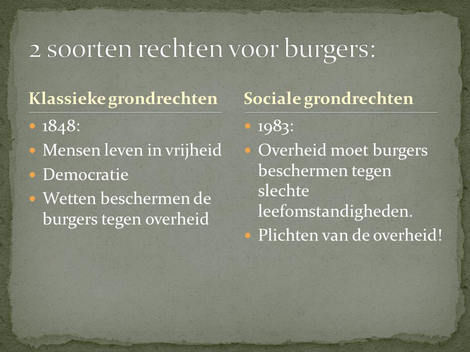 2 soorten rechten voor burgers: