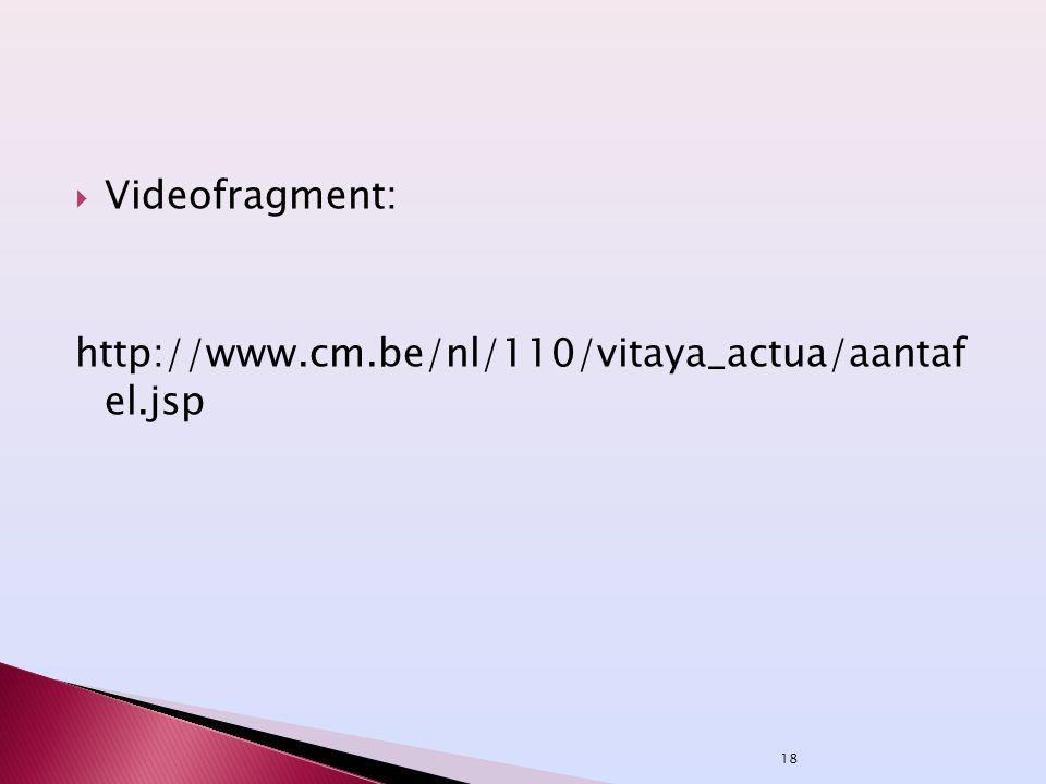 Videofragment: http://www.cm.be/nl/110/vitaya_actua/aantaf el.jsp
