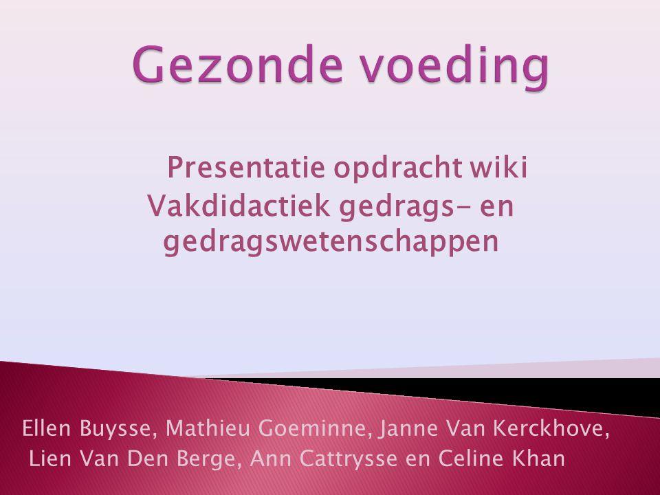 Gezonde voeding Presentatie opdracht wiki