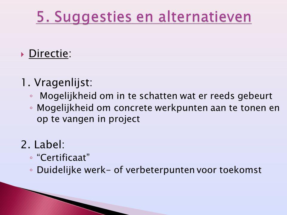 5. Suggesties en alternatieven
