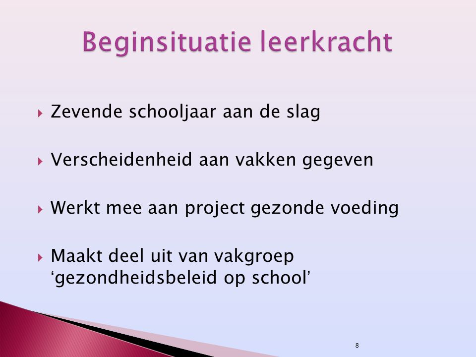 Beginsituatie leerkracht