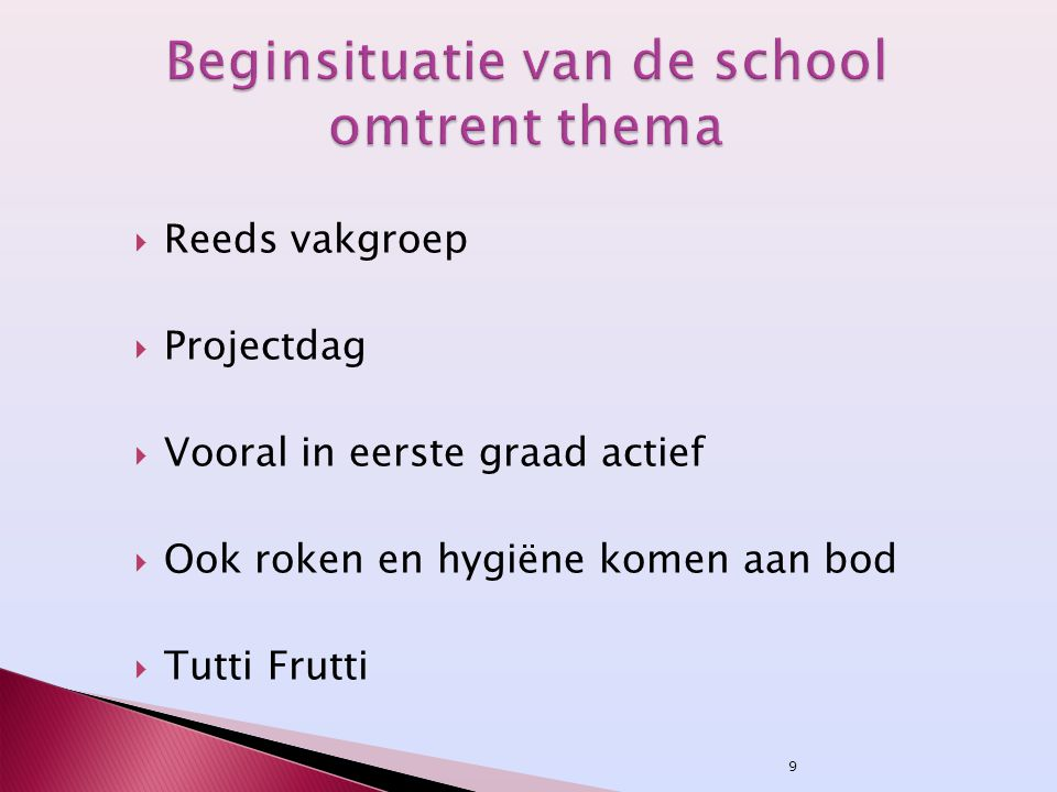 Beginsituatie van de school omtrent thema