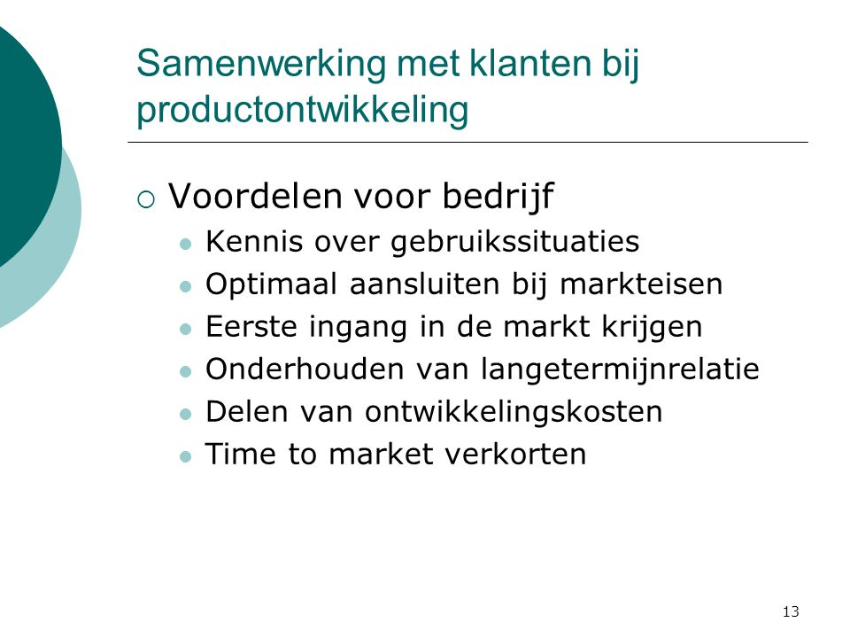 Samenwerking met klanten bij productontwikkeling