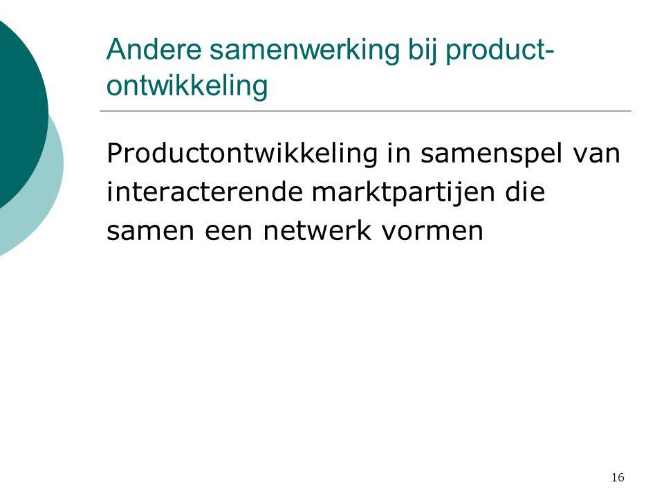 Andere samenwerking bij product-ontwikkeling