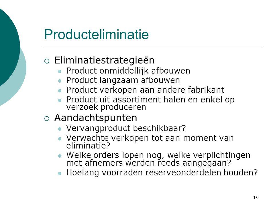 Producteliminatie Eliminatiestrategieën Aandachtspunten