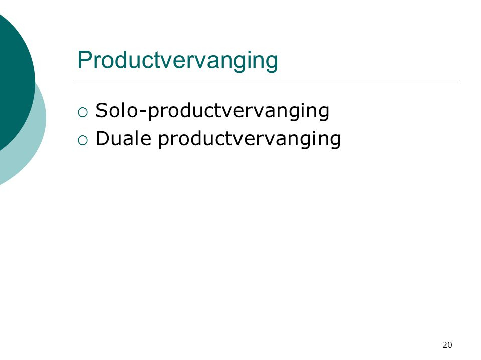 Productvervanging Solo-productvervanging Duale productvervanging