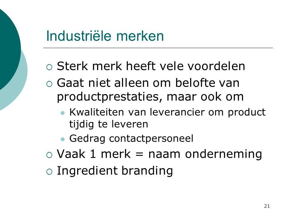 Industriële merken Sterk merk heeft vele voordelen