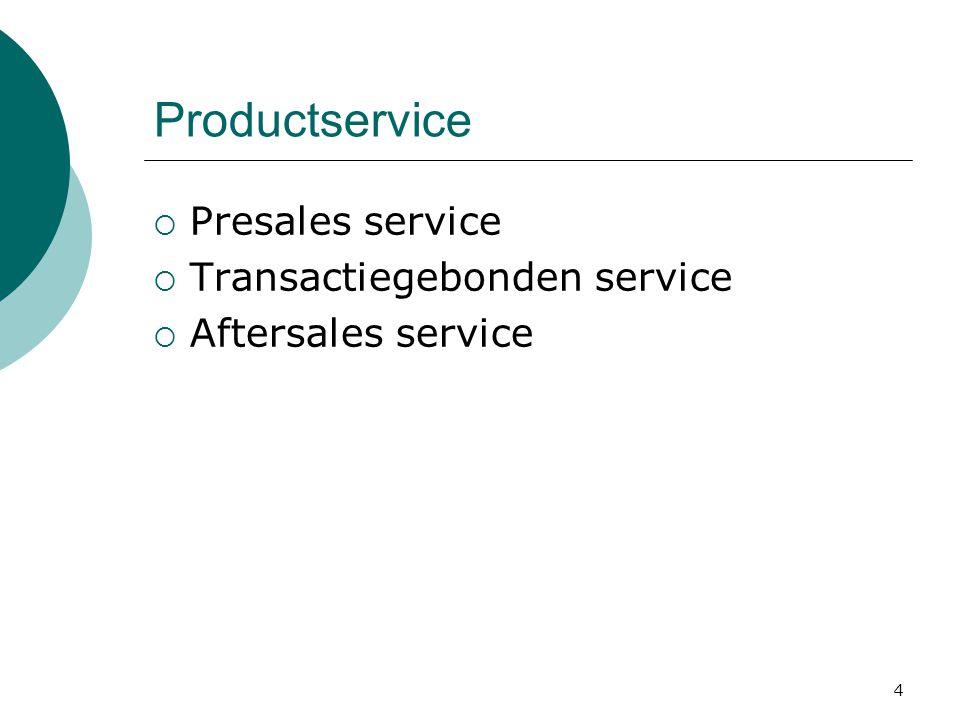 Productservice Presales service Transactiegebonden service