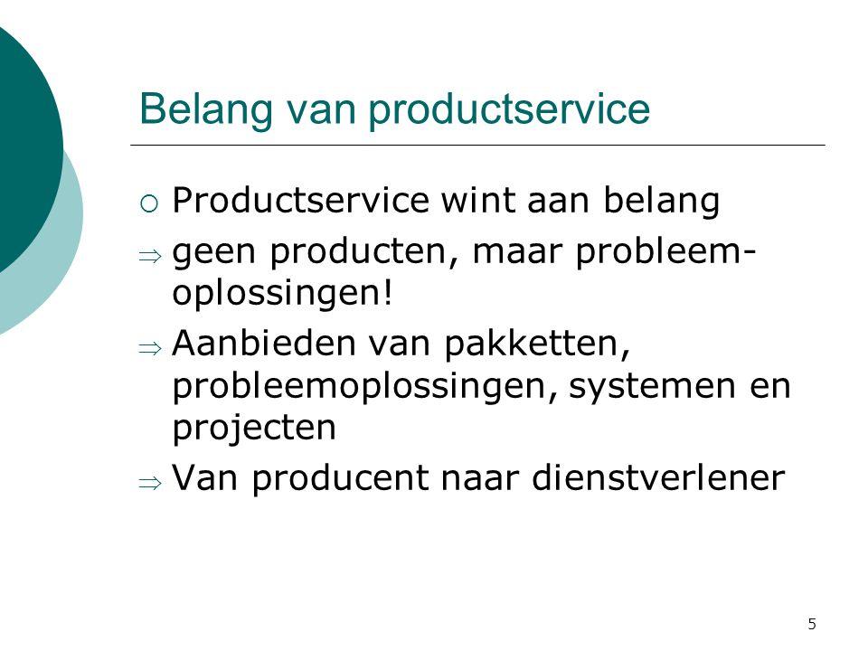Belang van productservice