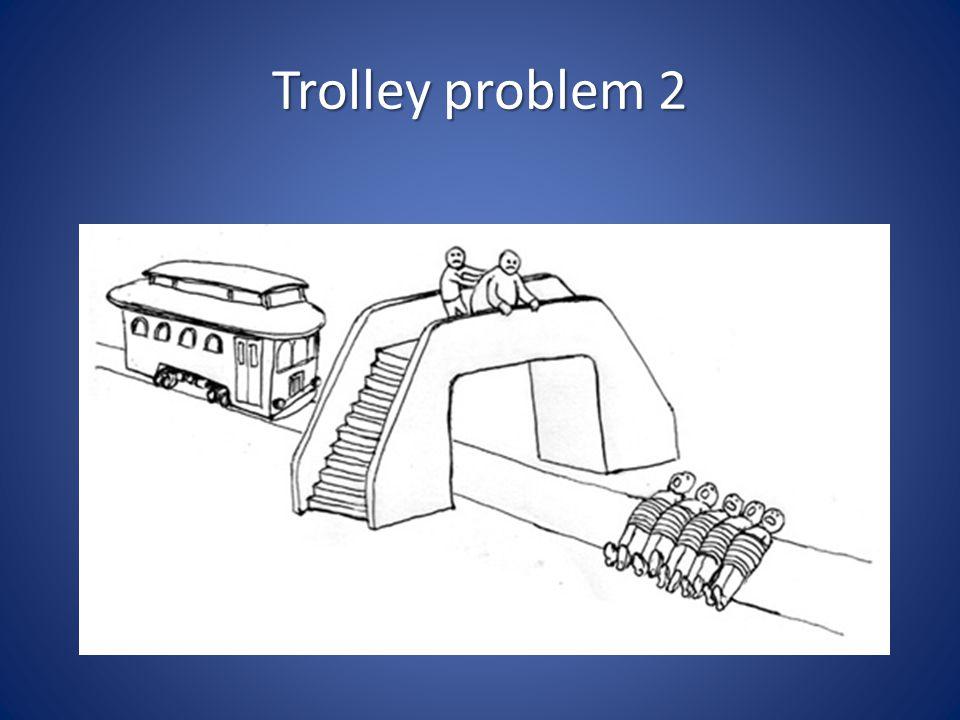 Trolley problem 2 Variant: je staat alleen op de brug… Wat dan
