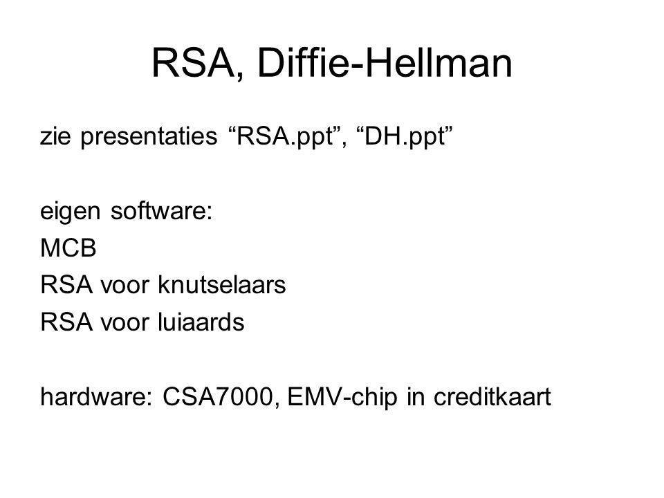RSA, Diffie-Hellman zie presentaties RSA.ppt , DH.ppt