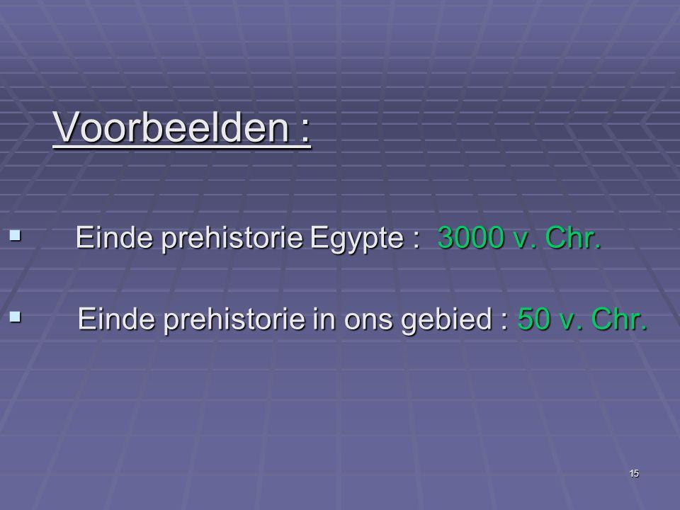 Voorbeelden : Einde prehistorie Egypte : 3000 v. Chr.