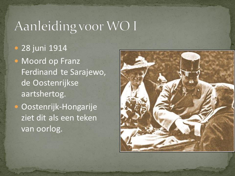 Aanleiding voor WO I 28 juni 1914