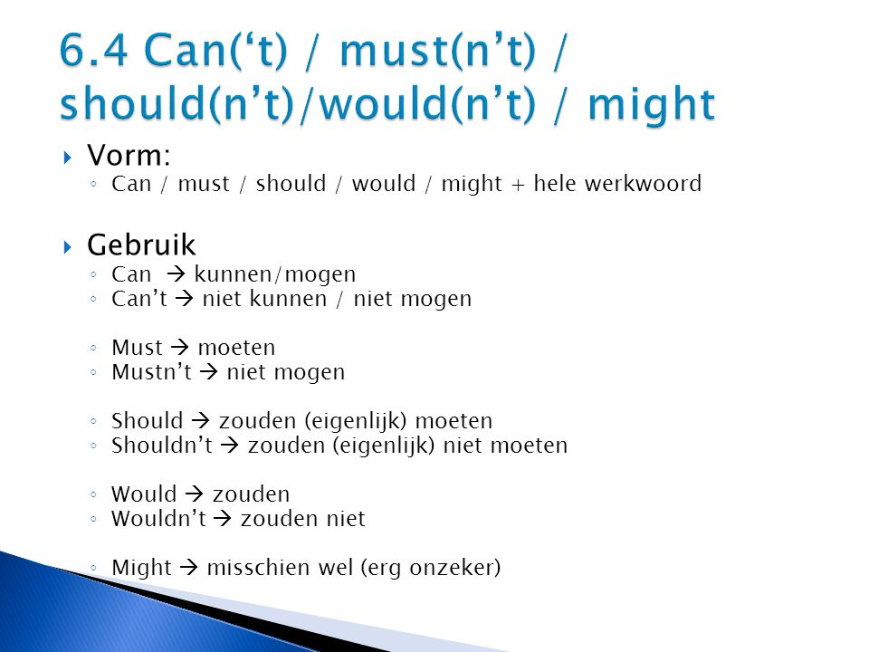 6.4 Can('t) / must(n't) / should(n't)/would(n't) / might