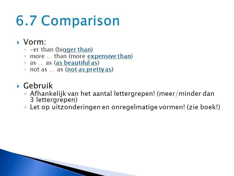 6.7 Comparison Vorm: Gebruik