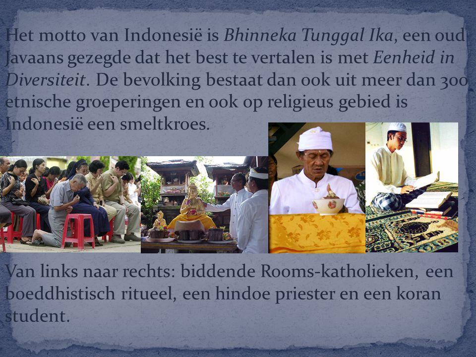 Het motto van Indonesië is Bhinneka Tunggal Ika, een oud Javaans gezegde dat het best te vertalen is met Eenheid in Diversiteit. De bevolking bestaat dan ook uit meer dan 300 etnische groeperingen en ook op religieus gebied is Indonesië een smeltkroes.