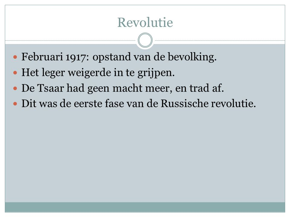 Revolutie Februari 1917: opstand van de bevolking.