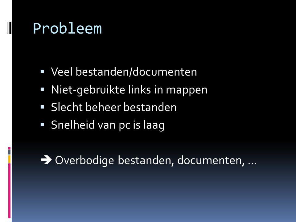 Probleem Veel bestanden/documenten Niet-gebruikte links in mappen