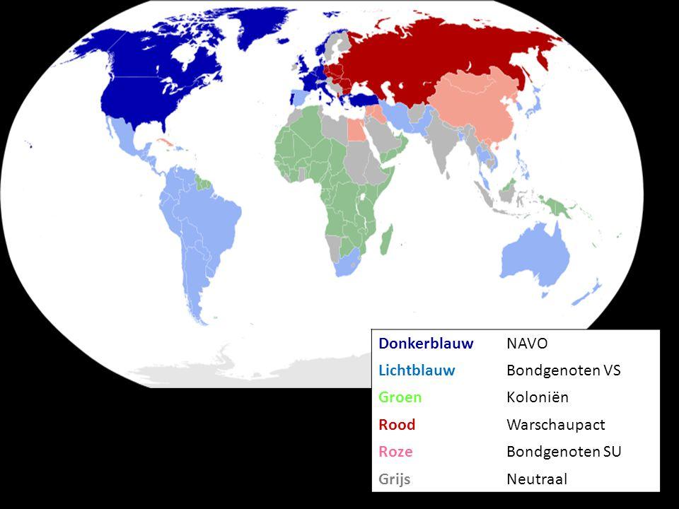 Donkerblauw NAVO. Lichtblauw. Bondgenoten VS. Groen. Koloniën. Rood. Warschaupact. Roze. Bondgenoten SU.