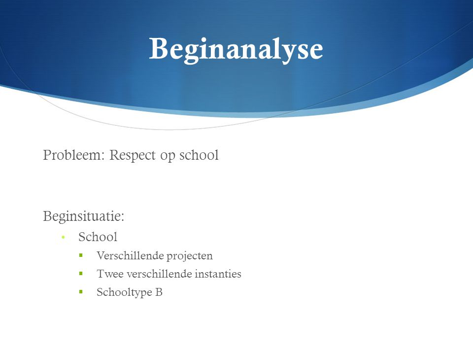 Beginanalyse Probleem: Respect op school Beginsituatie: School
