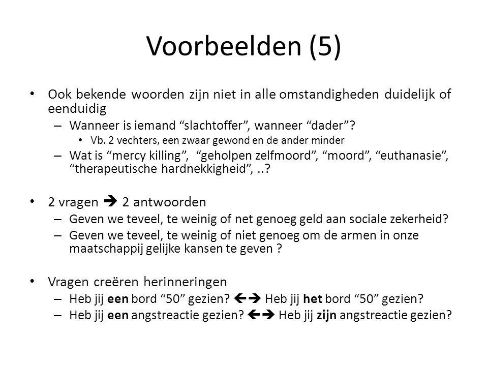 Voorbeelden (5) Ook bekende woorden zijn niet in alle omstandigheden duidelijk of eenduidig. Wanneer is iemand slachtoffer , wanneer dader