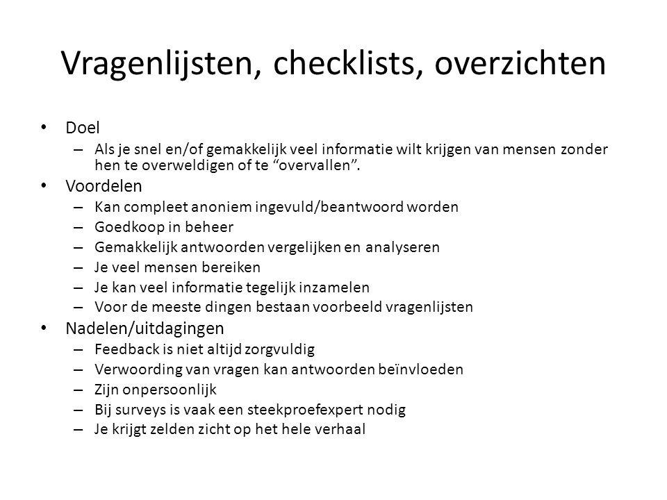 Vragenlijsten, checklists, overzichten