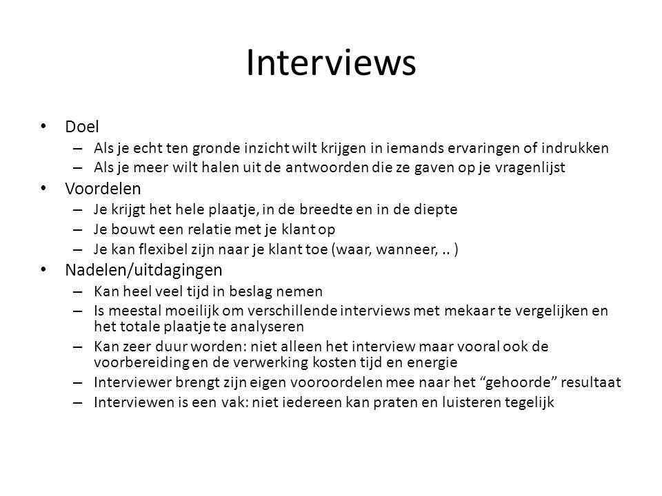 Interviews Doel Voordelen Nadelen/uitdagingen