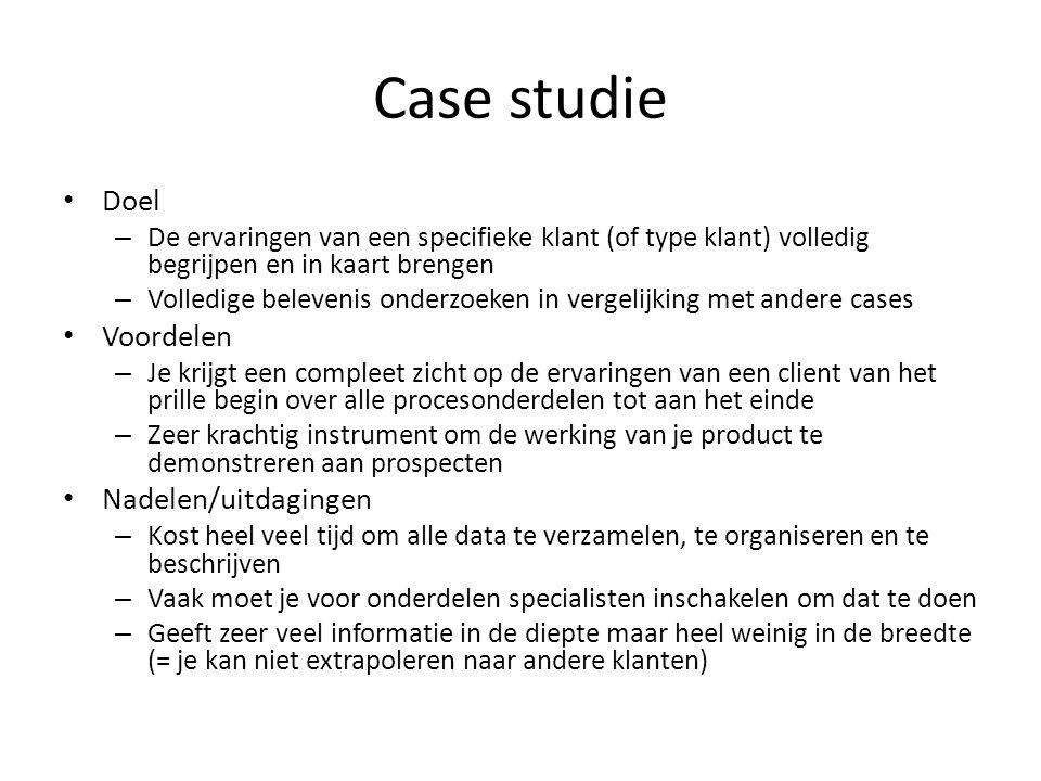 Case studie Doel Voordelen Nadelen/uitdagingen