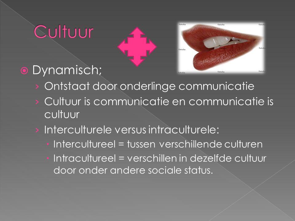 Cultuur Dynamisch; Ontstaat door onderlinge communicatie