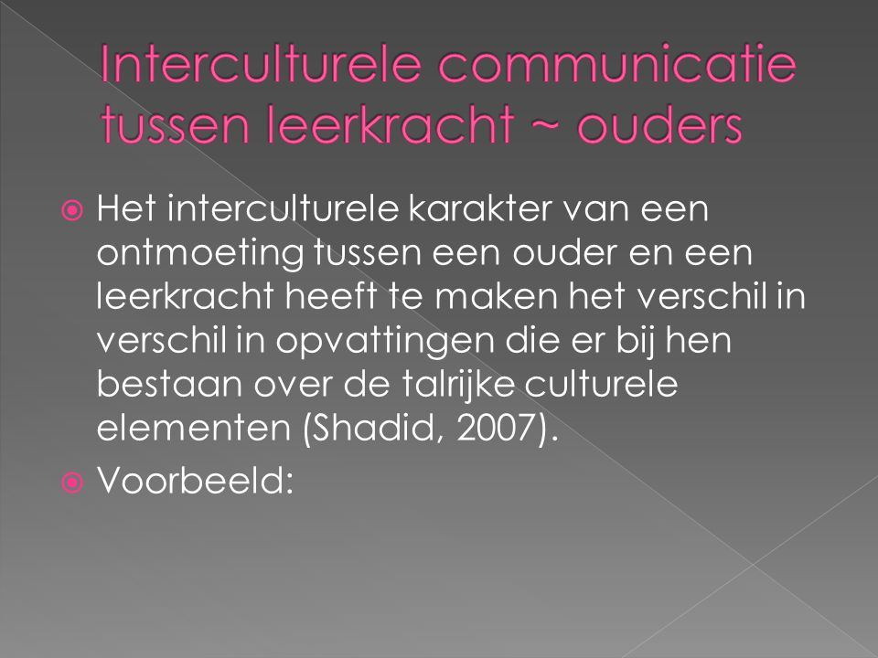 Interculturele communicatie tussen leerkracht ~ ouders