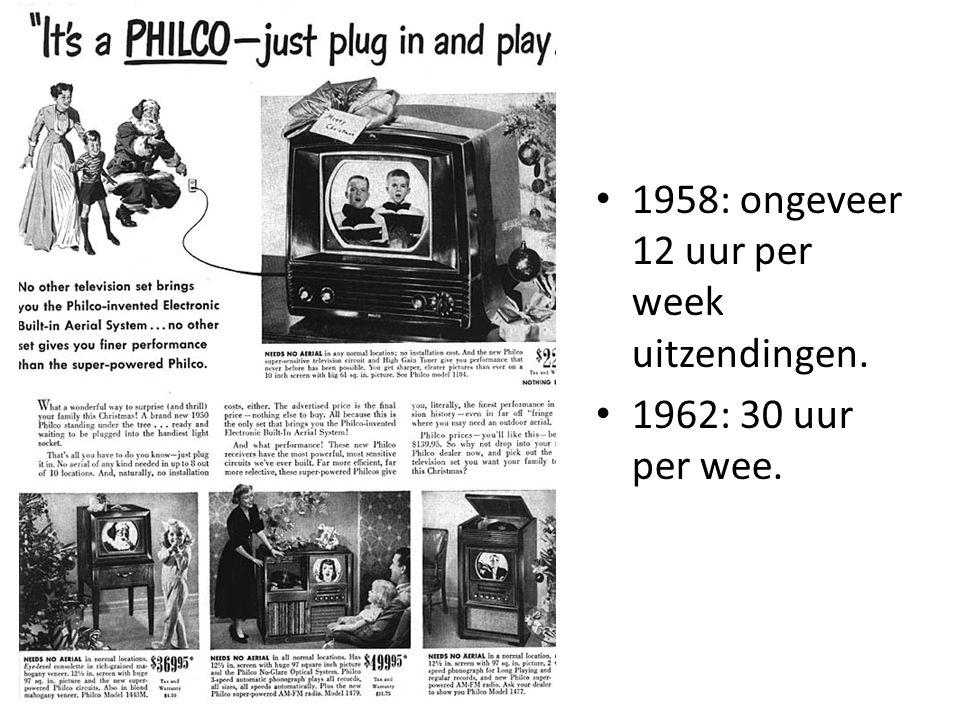 1958: ongeveer 12 uur per week uitzendingen.