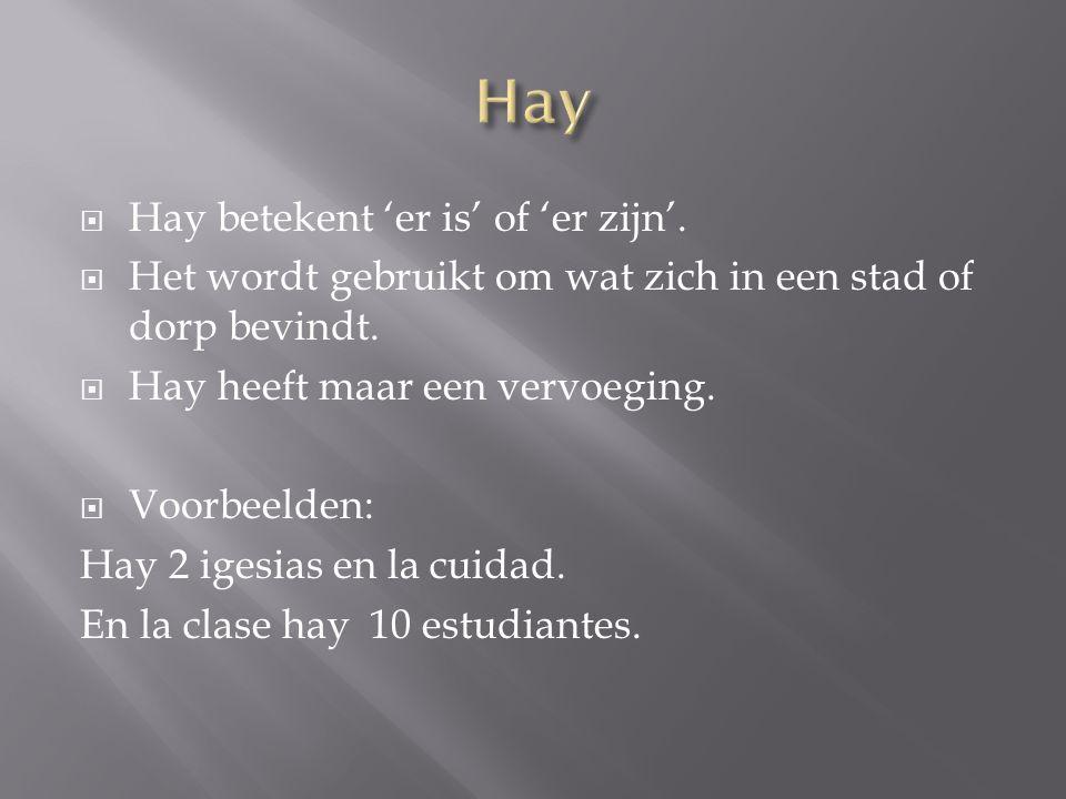 Hay Hay betekent 'er is' of 'er zijn'.