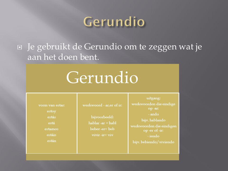 Gerundio Je gebruikt de Gerundio om te zeggen wat je aan het doen bent. Gerundio. vorm van estar:
