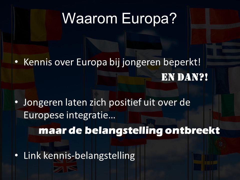 Waarom Europa Kennis over Europa bij jongeren beperkt! En dan !