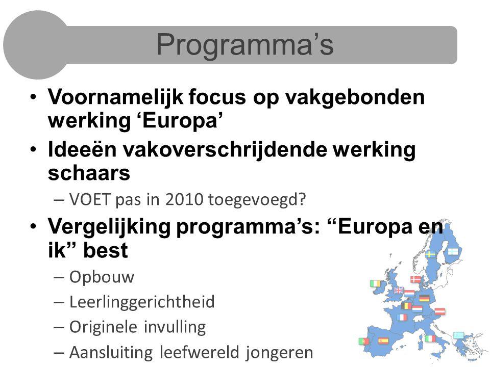 Programma's Voornamelijk focus op vakgebonden werking 'Europa'