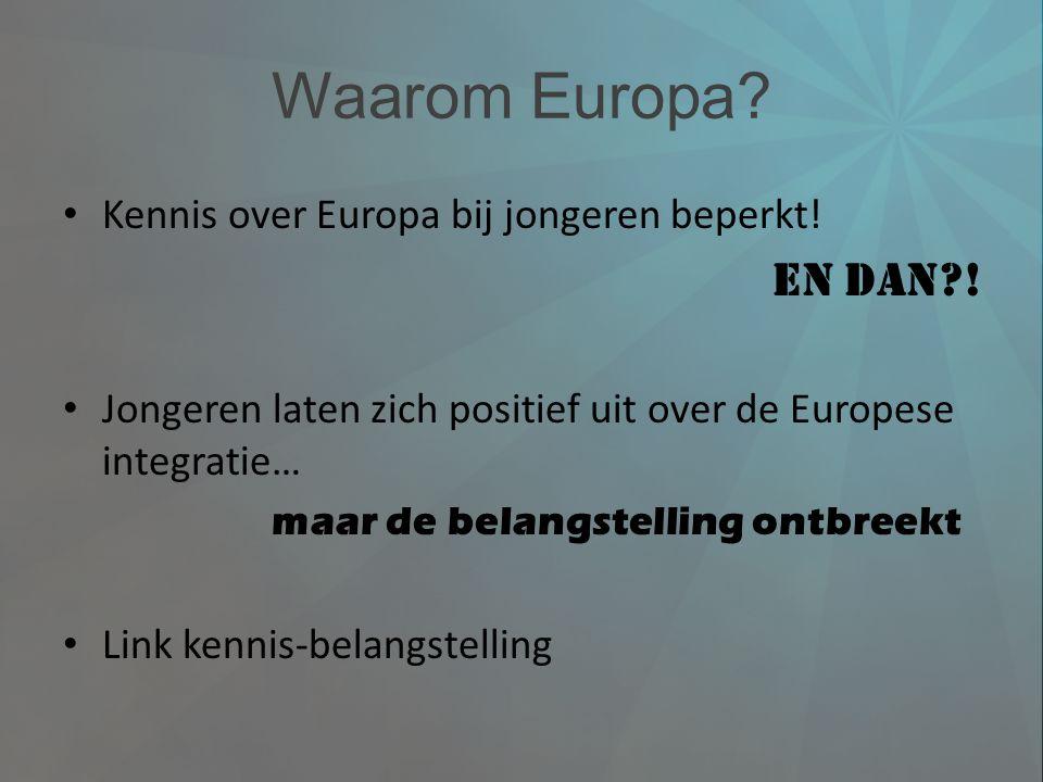 Waarom Europa En dan ! Kennis over Europa bij jongeren beperkt!