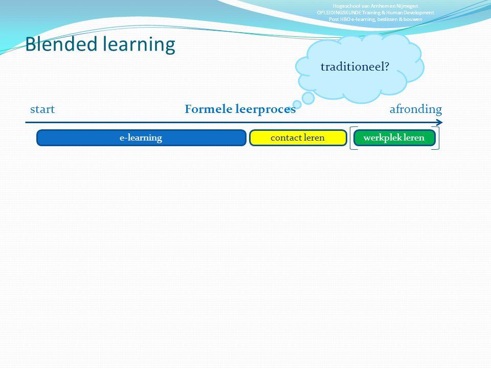 Blended learning traditioneel start Formele leerproces afronding