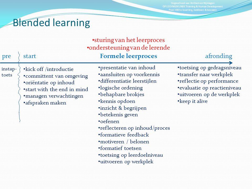 Blended learning sturing van het leerproces