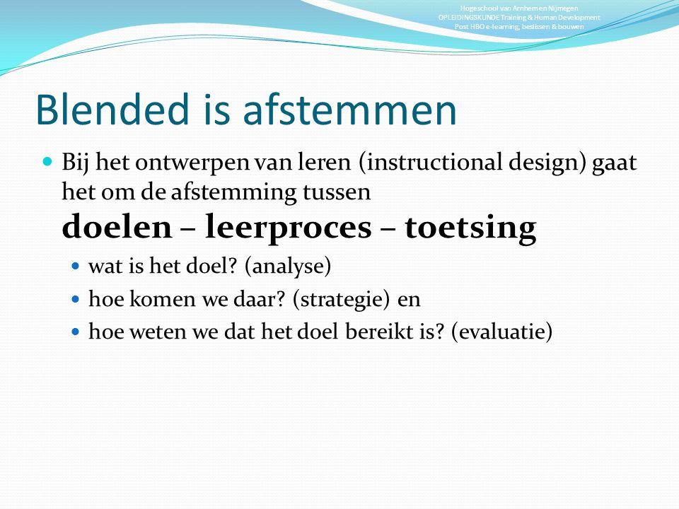 Blended is afstemmen Bij het ontwerpen van leren (instructional design) gaat het om de afstemming tussen doelen – leerproces – toetsing.