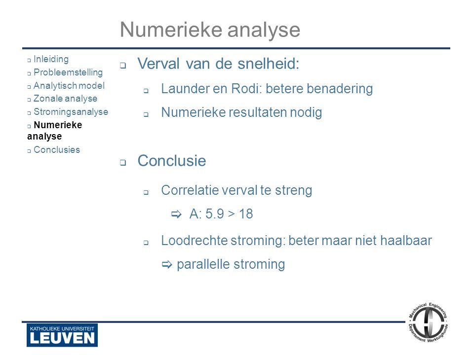 Numerieke analyse Verval van de snelheid: Conclusie