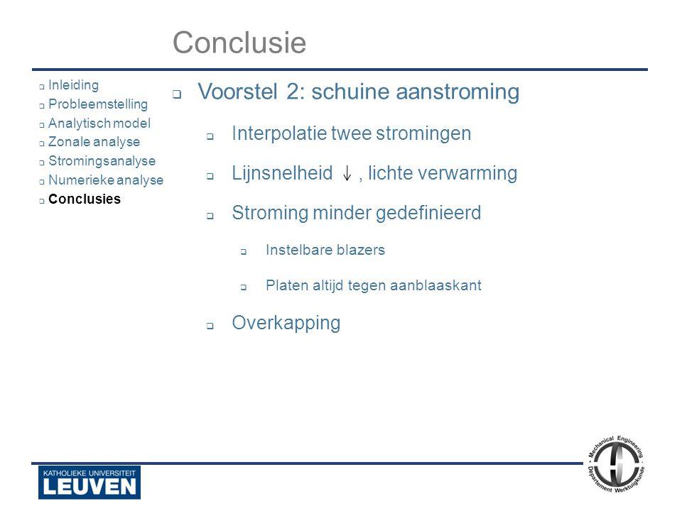 Conclusie Voorstel 2: schuine aanstroming Interpolatie twee stromingen