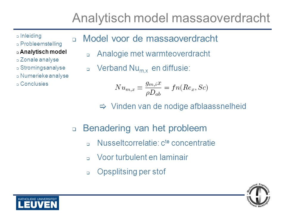 Analytisch model massaoverdracht