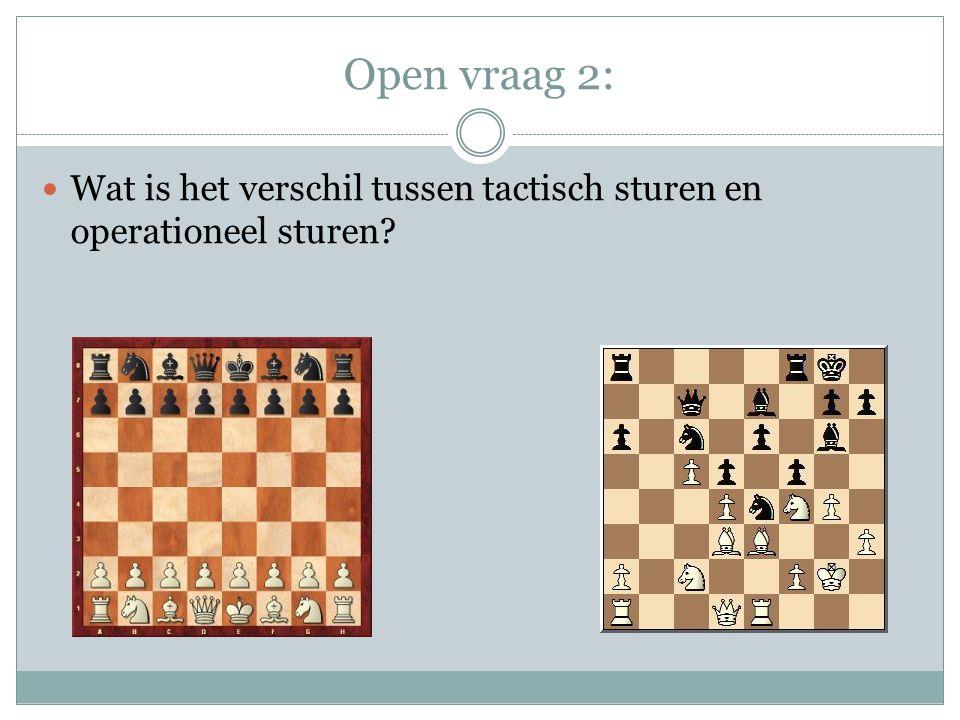 Open vraag 2: Wat is het verschil tussen tactisch sturen en operationeel sturen