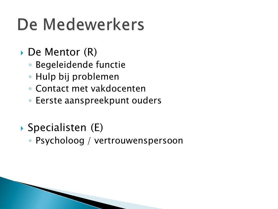 De Medewerkers De Mentor (R) Specialisten (E) Begeleidende functie
