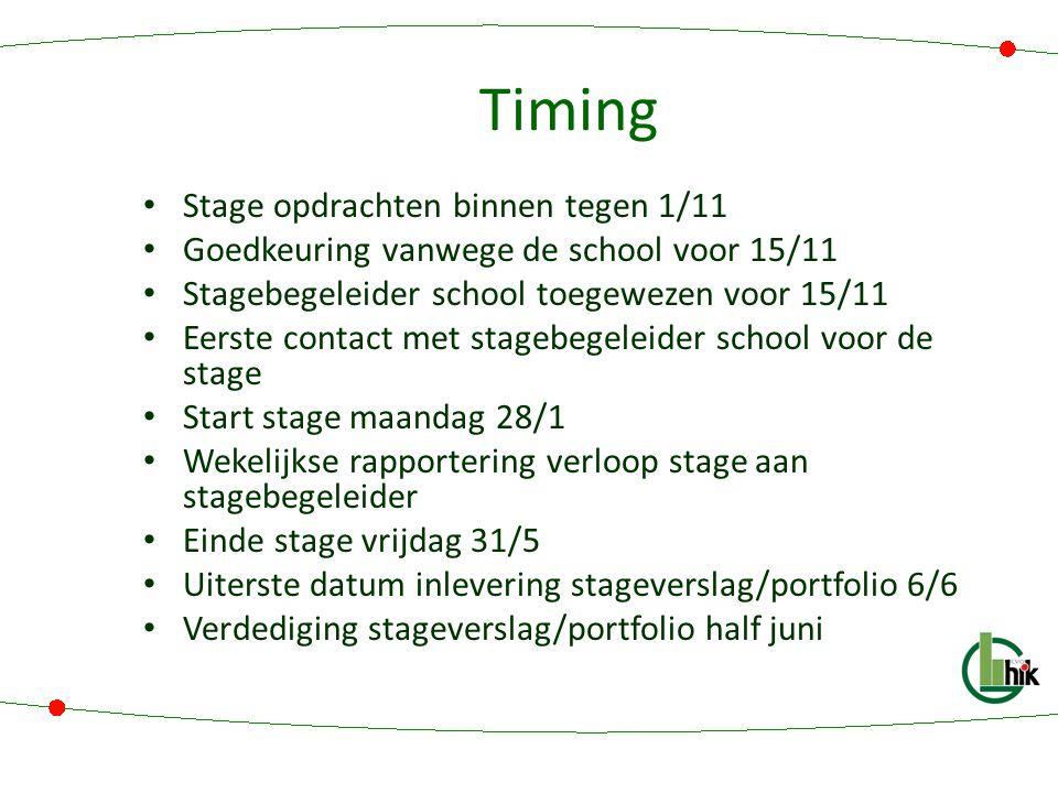Timing Stage opdrachten binnen tegen 1/11