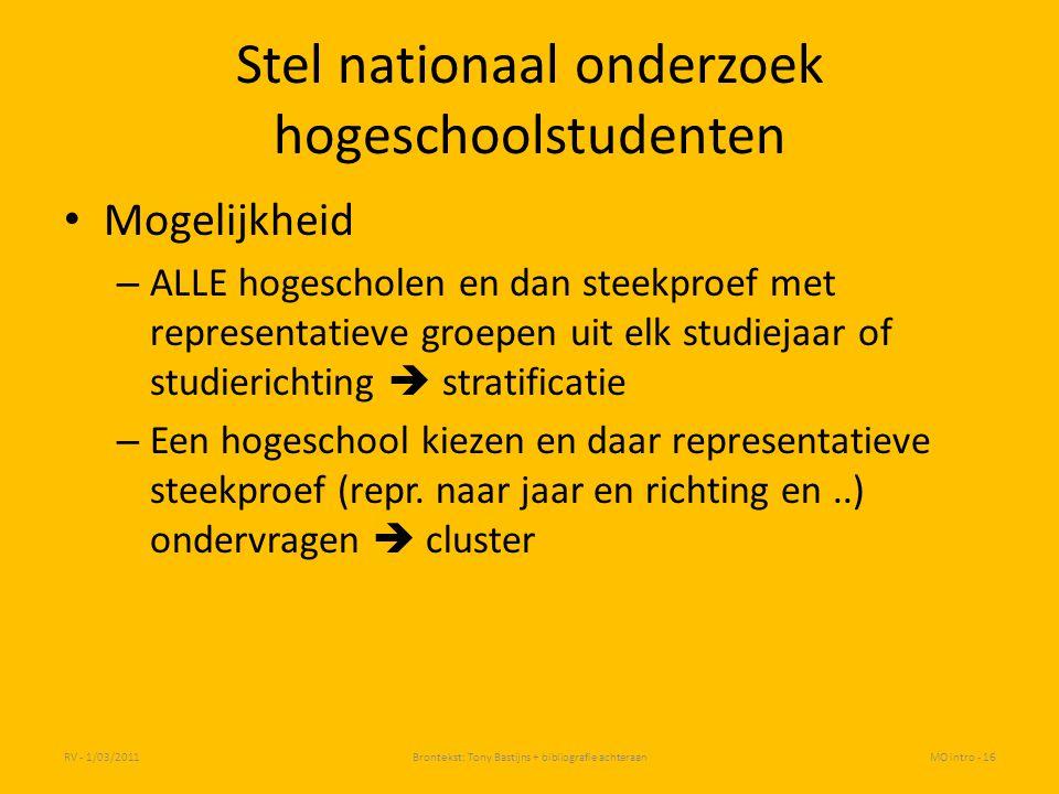Stel nationaal onderzoek hogeschoolstudenten